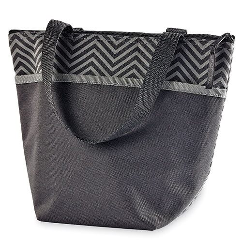 The Pampered Chef® On-the-Go Insulated Lunch Tote-Gray Chevron