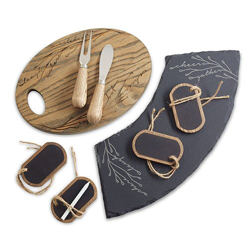 Ash Wood & Slate Cheese Serving Set