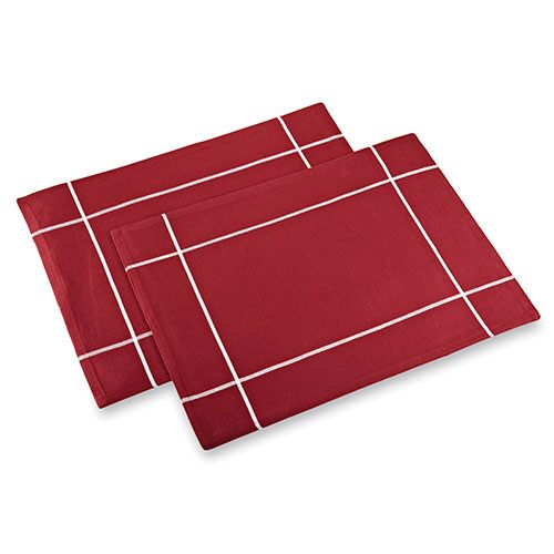 Cranberry Windowpane Placemat Set