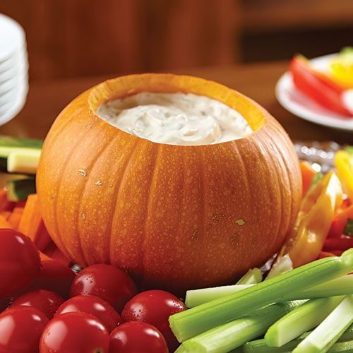 Festive Pumpkin Bowl with Dip