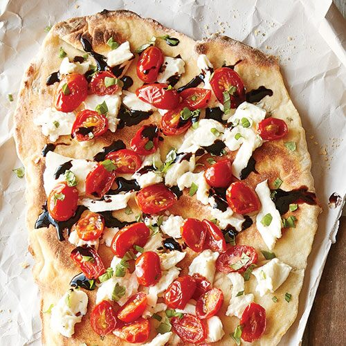 Grilled Tomato, Basil, and Mozzarella Flatbread