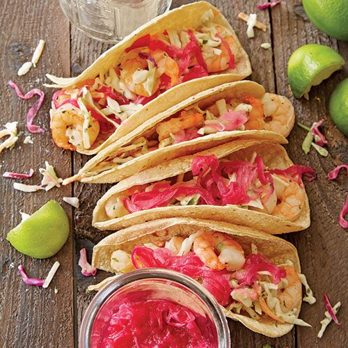 Shrimp Tacos with Jalapeño Slaw and Pickled Onions