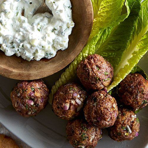 Moroccan Meatballs with Cucumber Yogurt Sauce