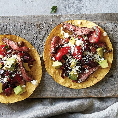 Steak Tostadas with Avocados, Tomatoes & Olives