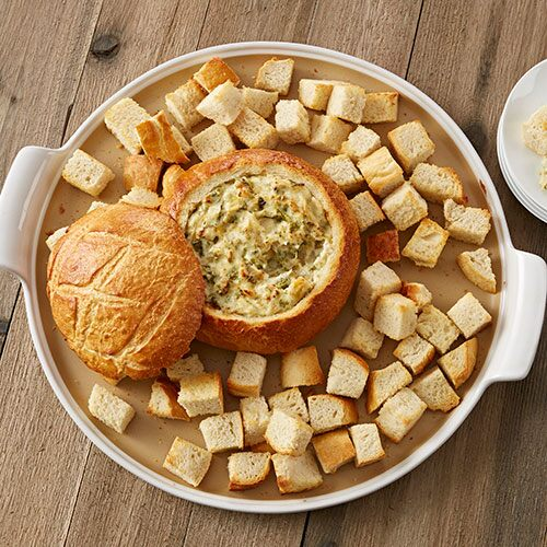 Bread Bowl with Kale & Artichoke Dip