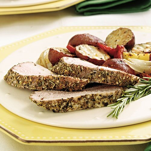 Rosemary-Crusted Pork Tenderloin with Vegetables