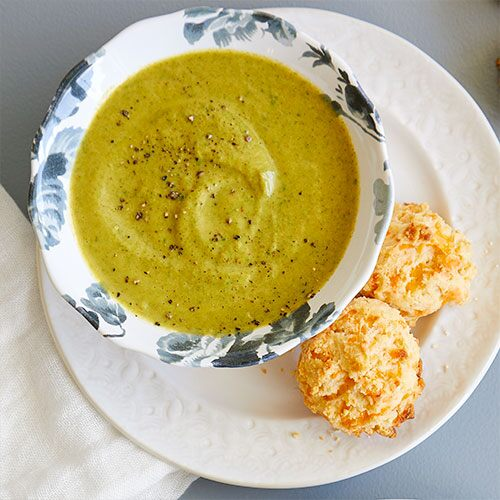 Broccoli Cheddar Soup With Cheddar Biscuits