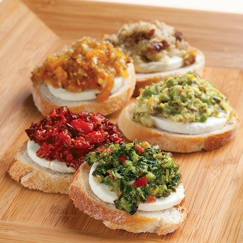 Goat Cheese & Tapenade Crostini (Spinach & Olive)