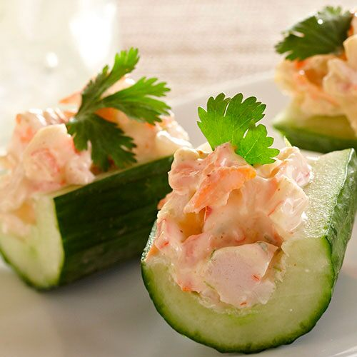 Zesty Crab Salad in Cucumber Boats